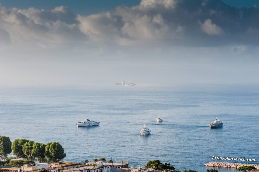 Engagement in Italy View of the Bay of Naples in Naples Tyrrhenian Sea